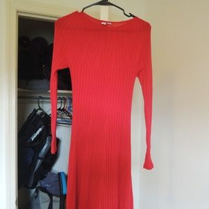 Uniqlo Long Sleeve Red Knit Dress